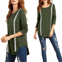 $enCountryForm.capitalKeyWord Canada - New all-match women T-shirt large lady T-shirts tops in Panelled floral ruffled in 2 lines design pullover long sleeve round neck 8616