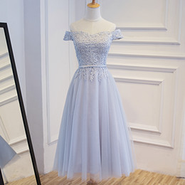 Robes De Demoiselle D'honneur Douces Pas Cher-Elegant Light Grey Robes de demoiselle d'honneur Soft tulle avec appliques florales Lace-up Retour Tea Length Wedding Robes d'honneur Robes de soirée Royal Blue