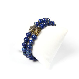 Discount lapis rings - Buddhist Jewelry Wholesale 10pcs lot 8mm Natural Not Fade Lapis Lazuli Stone Beaded Cz Big Buddha Bracelet For Cool Men