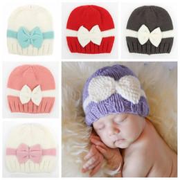 $enCountryForm.capitalKeyWord Australia - Newborn Bow Lovely Crochet Baby Cute Soft Knit Hats Skull Cap Infant Handmade Beanies Knitted Beanie Kid Girls Toddler Christmas Hat F218