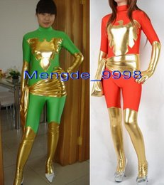 super sexy suit NZ - Fancy Red and Green Phoenix Costumes Unisex Lycra Spandex Phoenix Suit Catsuit Costumes Fancy Super Hero Outfit Halloween Cosplay Suit M195