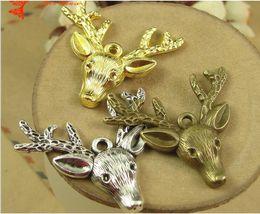 $enCountryForm.capitalKeyWord Australia - 36*37MM Antique Bronze Retro deer head pendant jewelry accessories DIY material, sika deer charm beads, vintage animal charms