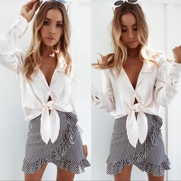 Shorts De Dames Pas Cher-2017 Hot Selling asymétrique Plaid femmes jupes courtes Summer Beach vacances jupes pour dames Fashion Party Vêtements Cheap FS1978