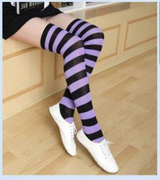 japanese thigh high socks 2019 - new Striped Knee High Socks for big Girls Adult Japanese Style Zebra Thigh High Socks Spring Stockings Christmas Hallowe