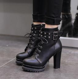 Discount Black Platform Ankle Boots Chunky Heel   2017 Black ...