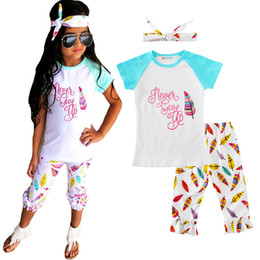 Branded Baby Kids Clothes Australia - Girls Clothing Sets Cartoon Letter T-shirt+Pants+Bow Headband 3pcs Girl Clothes Outfits 2017 Summer Brand Feather Kids Baby Clothing Set