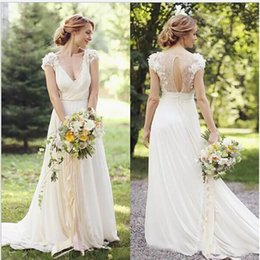 $enCountryForm.capitalKeyWord NZ - 2017 Vintage Garden Wedding Dresses Chiffon With Short Sleeves Bridal Gowns Robe De Mariage Custom Made