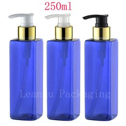 $enCountryForm.capitalKeyWord Canada - 250ml X 20 empty square blue lotion pump cosmetic bottles , 250cc body cream dispenser containers shampoo cosmetic packaging