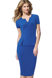 $enCountryForm.capitalKeyWord UK - Short Sleeve Office Lady Pencil Dress V-neck 2017 Summer New Arrival European Empire Sexy Fake Two Piece Bodycon Dress Blue