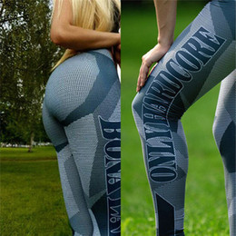 Sexy Workouts Clothes Canada - Wholesale- 2017 Printed Running Pants Fitness Sport Leggings Push Up Trousers Slim Tights Women Workout Sexy Aerobic Exercis Clothing Cheap