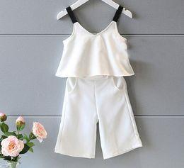White Tutus For Girls Australia - new 2017 Summer Girls Clothing Set Fashion white sling Tank Tops+Wide Loose Leg Pants Suit Kids Clothes Set for Girls
