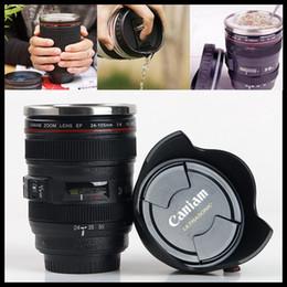 Discount thermos lens - Camera Lens Cup Coffee Tea Bottles 400ML Travel Mug Stainless Steel Thermos SLR Lens Coffee Mugs 60pcs IB250