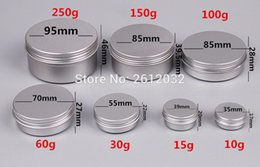 box for jar cream UK - Wholesale- 51015 30 60 100 150 200 250 ml aluminium cream jar Aluminum Jar Makeup Cases Makeup Box Empty Sample Jars Container for packing