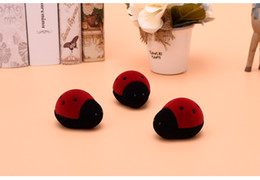 beetle jewelry Australia - [Simple Seven] Cute Red Black Beetles Ring Box Plastic Flocking Necklace Display Earring Studs Case Ladybugs Jewerly Container