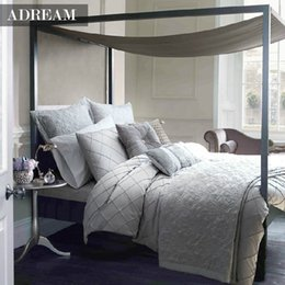 bedding for queen size beds 2018 - Wholesale- Adream 4pcs Bedding Set, Duvet Cover Set silver grey Bed Sheet Plaid Bedding Home textiles For Queen King bed