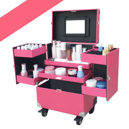Discount makeup trolleys - Aluminum Roll Fashion Makeup Storage Case Portable Cosmetic Train Box Trolley Lockable Black  Pink 37x24 .5x48cm