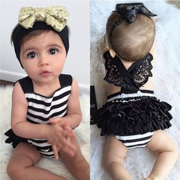 Mono De Dos Piezas Baratos-Stripe Baby Girls Romper + Sequin Headband Sin mangas Backless Lace jumpsuit Princesa Layered Vestido Niño Bowknot Dos Piezas