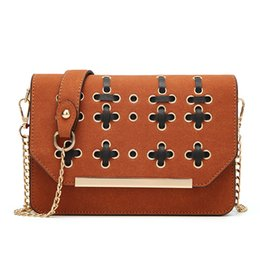 Vintage saddles online shopping - 2017 new European and American fashion small square package bursts shoulder oblique scrub small bag chain handbags