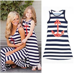 Tenues De Bohème Pas Cher-Hot Selling Mother and Daughter Dress Anchor Stripe sans manches Robe Bohème Famille Matching Outfits Robe pour maman et fille