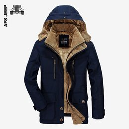 Wholesale afs jeep jackets resale online – AFS JEEP Brand Winter Jacket Men Warm Thicken Coat High Quality Famous Cotton Padded Fashion Parkas Elegant Business Plus Size