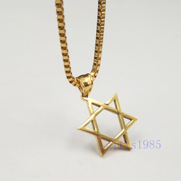 gold pendant design star Canada - HOT Golden Star of David pendant stainless jewelry classic design box chain necklace