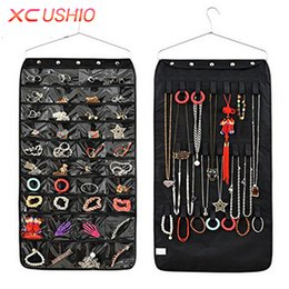 Fabric Hanging Organizer Australia - Wholesale- 40 Pockets Double Sided Jewelry Hanging Storage Bag Non-woven Storage Organizer 20 Magic Tape Hook Earrings Ring Display Pouch