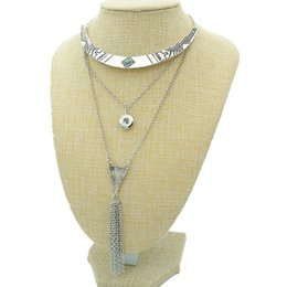 $enCountryForm.capitalKeyWord UK - NEW Fashion DJ0127 trendy 3 layers chain Collar tassel snap Necklace 50CM fit 12MM charm snap buttons snap jewlery