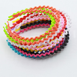 Hair Color Edges Australia - Brand new Candy color wide edge lady hair band wave high elastic plastic headband TG009 mix order 30 pieces a lot