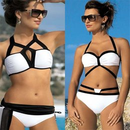d1a859aa86 2016 Womens Color Block Bandeau Push up Strappy Bikini Set Low Waist Cut  Out Beach Bathing Suits Sexy Slim swimsuit