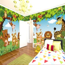 3d wallpapers for boys rooms NZ - Cartoon Wall Mural Forest Animals Animation children room 3D Mural for Kids Room Boy Girl Bedroom wallpaper custom any size