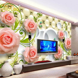Discount Roses Wallpaper Home Decor Wholesale  Custom Photo Wallpaper Rose  Leather 3D Mural Wall Paper