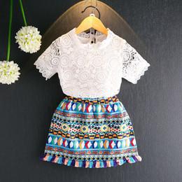 37d3ddd4fa24 HUG ME baby summer flower princess dresses Summer new girls clothes girls  flowers lace hollow short sleeve T-shirt+lace dress 2pcs set