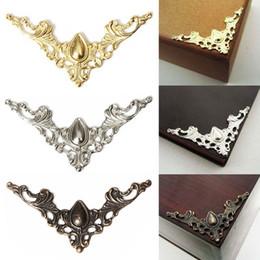 $enCountryForm.capitalKeyWord Canada - 12PCS Metal Book Corner Protector Box Book Scrapbook Album Corner Decorative Protector Cover For Antique Brass Jewelry Box Gift