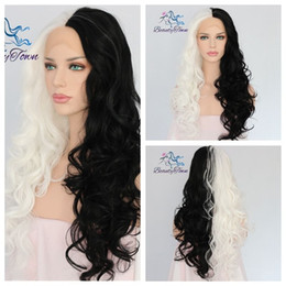 color lace wig NZ - 100% Brand New High Quality Fashion Picture full lace wigs>> 24''Half Black Half White Color Natural Hair Hand Tied Synthetic Lace Front Wig