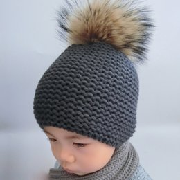 $enCountryForm.capitalKeyWord Canada - Winter Hat Baby Children Raccoon Fur Pompom Hats Boy And Girls Warm Beanie Hat Cap For Kids