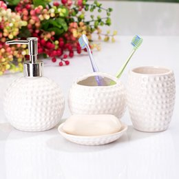 Bathroom Accessories Wholesalers Canada - Exquisite European Palace Style 4pc Dispenser Toothbrush Holders Bathroom Accessories Set Brief Ceramic Combination Four Sets