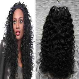 Micro Bead Loop Human Hair Extensions Canada - Human hair extensions Afro kinky curly 7a micro loop brazilian extensions 100g brazilian kinky curly micro bead hair extensions 100s