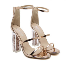 $enCountryForm.capitalKeyWord NZ - New gold sandals ankle strap clear PVC transparent chunky heels wedding shoes Size 35 To 40