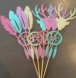 $enCountryForm.capitalKeyWord Canada - 30pcs glitter Stag Head Feather Dream Catcher Cupcake Appetizer toppers bridal shower Wedding engagement Bachelor party Supplies food picks