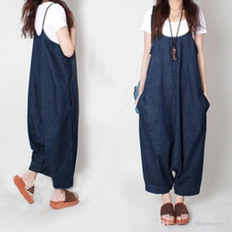 Pantalon Large À L'entrejambe Pas Cher-New Autumn Women Harem Loose Jeans Jumpsuits Denim Strap Dropped Crotch Wide Leg Cowboy Cozy Ninth Pants Rompers Large Szie