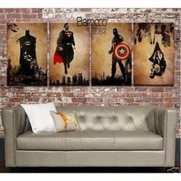 4 piece canvas art online shopping - Superhero Hand Painted Abstract Figures Oil Painting on Canvas Modern Home Wall Art Decoration Pieces