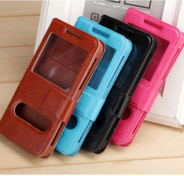 4.5 phone case NZ - Universal Open Window PU Leather Flip Case With Stand Holder For IPhone Samsung Xiaomi htc 3.5'' 4'' 4.5'' 5'' 5.5'' cell phones