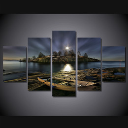 Boat Landscape Oil Painting UK - 5 Pcs Set Framed HD Printed Night Boat Shore Scenery Picture Wall Art Canvas Print Room Decor Poster Canvas Modern Oil Painting