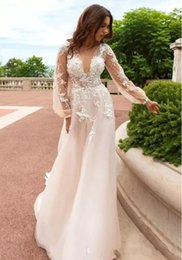 romantic boho beach wedding dress Canada - 2017 V Neck Long Sleeves A Line Wedding Dresses Tulle Bridal Gowns 3D Flower Appliques Beads Romantic Boho Country bridal gowns