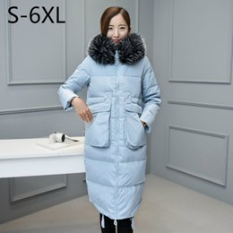 Barato Casacos Brancos De Inverno Longo-5XL 6XL Mulheres Down Coat Winter Parkas Long Jacket Fur Hoodies Warm Outwear Overcoat Tops White Duck Down Padded Pus Tamanho 2017
