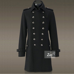 Discount Black Military Trench Coat Men | 2017 Black Military ...