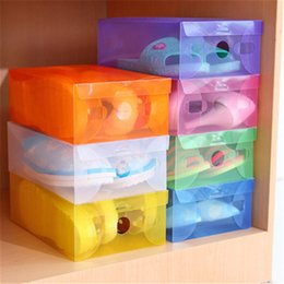Plastic Shoeboxes NZ - New Transparent Shoebox with Lid Clear Plastic Shoe Clamshell Storage Boxes Bins DIY Boots High Heels Shoes Boxes Home Organizer