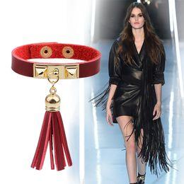 $enCountryForm.capitalKeyWord Canada - 2017Hot selling Color Fringe Leather Fashion Charm Bracelets With Pendant Wholesale Wristband European STYLES Braceles Jewelry Free shipping