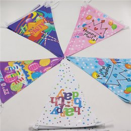 decorations for boy birthday party NZ - Wholesale- wholesale lovely happy birthday party decoration for kids boys girls baby supplies favor 1 banner include 10 flags 2.5m festival