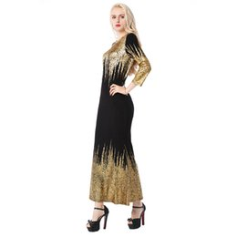 abbd7f3c40c Beauty Garden Women Black Bling-Bling Long Sleeve Kintted Dress Party Club  Autumn Sexy Gold Stamping Maxi Dress